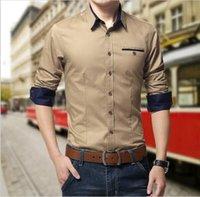 Wholesale High quality Plus Size Mens Dress Shirts Long Sleeve Lapel Casual Shirt Men Slim Fit Brand Design Formal Shirt Camisa Social hight quality