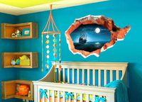 big fish wall art - 100 Cm Hot Sale D Sailing Big Ocean Fish Catoon Wall Decals Living Room Bedroom Removable Wall Stickers Free UPS Fedex Ship RK78374