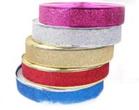 christmas ribbon - Color decorative ribbon ribbon Christmas tree Organza Dolden Roasted Wedding Christmas Tree Decoration Ribbon Printed Glitter Natal Crafts