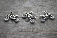 Wholesale 30pcs Motorcycle Charms Antique Tibetan Silver Tone sided Dirt Bike charm pendants X18mm
