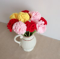 artificial pink carnations - 3pcs Mother s Day New Style Artificial Carnation Red Pink Yellow Color Handmade DIY Knitting Wool Home Decoration Flower Birthday Gift