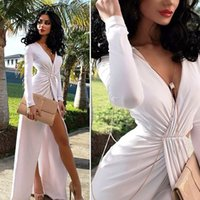 Wholesale New Fashion White High Split Long Maxi Dress New Women s Sexy Deep V Club Wear Evening Party Dresses