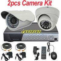 Cheap 2ch cctv kit alarm system 2pcs sony 700TVL cctv security surveillance camera 4CH channel full D1 hd DVR digital video recorder