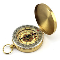 achat en gros de antiquités montre de poche-2015 Pocket Brass chaîne Anneau montre style antique vintage KeyChain randonnée Camping Compass Navigation Outil extérieure