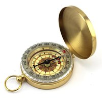 antique watch tools - 2015 Pocket Brass Watch Vintage Antique Style Ring KeyChain Camping Hiking Compass Navigation Outdoor Tool chain