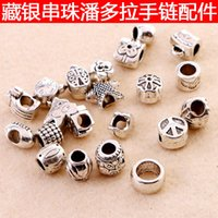 Wholesale Loose Beads Mixed Design Antique Silver Acrylic Beads Spacers Beads Fit Pandora Bracelet European Charm bracelets chain Accessories Jewelry
