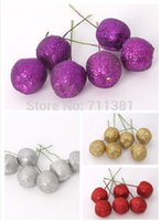 apple tree products - New Products Christmas Ornament Home Decor Apples For Christmas Tree Hanging Decorations Red Purple Golden Silver Colors