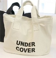 Femmes sac shopping toile grand sac lettre impression glissière sac fourre-tout shopper porteuse des capacités noir / blanc
