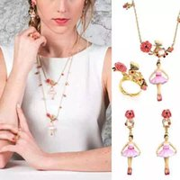 pink jewelry - 2015 new style quot LES NEREIDES quot ballet girl series enamelled pink blossom jewelry sets