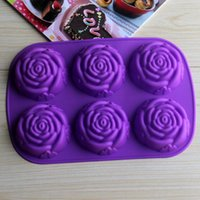 bakery candle - 6 in One D Rose Silicone Bakery Tools Cake Mold For Cake Cupcake Soap Candle Bakery Decorations Tools SC1422