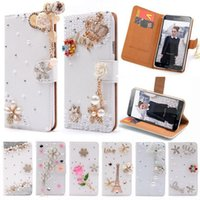 Wholesale Smart Flip Cell Phones - Wallet Flip PU Leather Diamond Eiffel Mirror Bowknot Flower Smart Stand Case For Samsung Galaxy SV S5 I9600 S 5 Cell Phone Cover