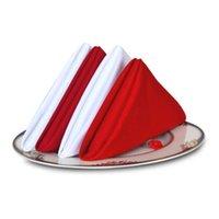 Wholesale 48 cm White Red Napkins Cloth Cotton Linen Napkins For Wedding Party Dining Event Restaurant Banquet