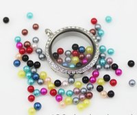 Wholesale 100pcs mm Colorful Charms Mix Round Pearl Beads Floating Locket Charms For Glass Locket