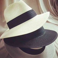 Wholesale summer floppy straw panama beach hats for women tea party vogue classic black girdle jazz sun hat chapeu feminino sombrero mujer