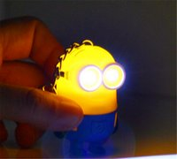 Wholesale 2015 Summer Despicable Me Minion LED Keychain Keyring Cute Flashlight Torch Sound Toy Key Chain Pendants for Children Gifts