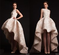 Reference Images high low wedding dress - Krikor Jabotian Wedding Dresses Sexy A Line Cheap Crew Neck Pleats Applique High Low Layers Arabic Formal Bridal Gowns