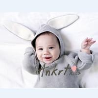 baby jumper - INS winter children sweater knitting coat boys and girls rabbit ears baby hooded pullover E0031