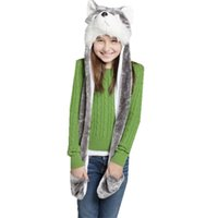 animal hat paws - Hot Sales Fashion Lovely Cartoon Animal Hat Wolf Fluffy Plush Warm Animal Cap Hat with Scarf Gloves Paws