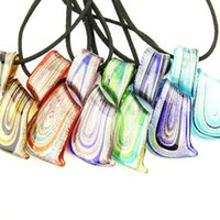 14k gold rope chain - The most popular color simple glass transparent pendant Abstract beautiful necklace and H154178