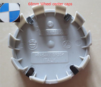 achat en gros de style alliage bleu-20pcs / lot ALLIAGE 68mm WHEEL CENTER CAPS bleu / blanc OEM STYLE 10 clips 10pins made in Italy