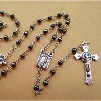 antique rosaries - New Fashion Antique Religious Jewelry Metal Flower Black Stone Jesus Cross Pendant Rosary Necklace Long Design