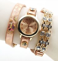Wholesale 2016 Snake skin design women leather watches fashion ladies rose gold diamond stone dress quartz wrist bracelets watch for women