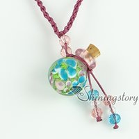 ash suppliers - vintage perfume bottle pendant necklace necklace vials for ashes supplier Italian murano glass pendants with flower inside