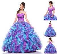 Wholesale Fashionable Colorful Organza Quinceanera Dresses With Detachable Jacket Sweetheart Lace up Ball Gown Ruffled Pageant Dress Prom Gown