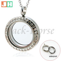 Wholesale 316L stainless steel Water Proof living floating charm locket crysta locketl twist glass locket pendant high quality