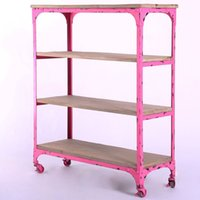 wood bookcase - American LOFT do the old retro antique furniture wrought iron imitation wood bookcase shelves rusty metal frame with wheels