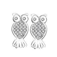 Wholesale GNE1060 Fashion Design Little Owl Silver Ear Stud Earring Made of Sterling silver Women Girl Gift Jewelry