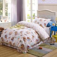 bear comforter set - Kids cute cartoon cotton bedding set with rabbit bear reactive printing duvet quilt doona covers lace flat sheet pc comforter sets