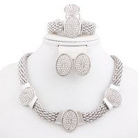 Wholesale New Fashion Silver Plated White Crystal Rhinestone Jewelry Set for Women Classic Wedding Bridal Costume Jewelry Sets
