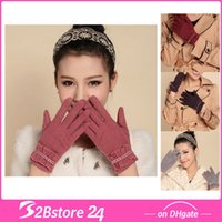 Wholesale New Women Winter Gloves with Cashmere Wool Lady Riding Gloves in Winter Diff Colors