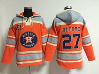Wholesale Houston Astros Jose Altuve Lace Up Pullover Hooded Sweatshirt Cheap Baseball Jackets Winter Baseball Jerseys Warm Outerwear with Hats