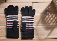 Wholesale Winter Warm Knitted Gloves Black Color with Florals and Striped Pattern Autumn and Winter Women Warm Gloves