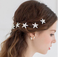 prom hair accessories - New Fashion Pieces Wedding Bridal Bridesmaid Prom Korean Hair Accessories Silver Crystal Rhinestone Starfish Pins Comb Clips Jewelry Set