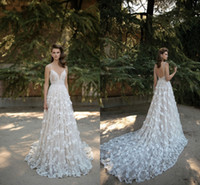 Wholesale Berta Lace Wedding Dresses Spaghetti Backless D Floral Appliques A Line Chapel Train Glamorous Arabic Bridal Gown Vestidos De Noiva