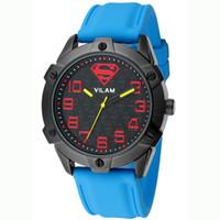 Cheap Fashion Brand VILAM Superman Design Japan Movement Waterproof Silicone Band Sports Watch Men Casual Wrist Quartz Watch Men Clock