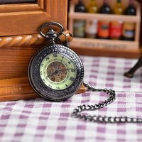 beige dial - New Arrival Fashion Unisex Antique Vine Brass Rib Chain Mechanical Pocket Watch Steampunk Roman Beige Dial Cool Gift