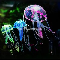 Wholesale 7 quot Glowing Effect Artificial Jellyfish Fish Tank Aquarium Decoration Ornament Silicone Colors Choose Drop Ship