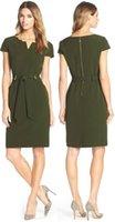 architectural columns - Belted Stretch Sheath Dress Architectural Neckline Short Sleeves Dresses