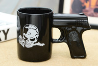 Porcelain b cup models - 360ML DIY D Dummy Pistol Grip Model Style Pirate skull Porcelain Gun Mug Coffee Cup Tea Cup Funny Gift CUP05 B