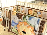 babies cot beds - New Embroidered Africa lion Pattern Baby boy Cot Crib Bedding Set items includes Quilt Bumper Bed Skirt Mattress Cover