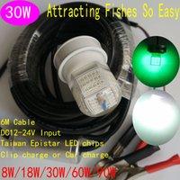 al factory - 30W Green LED Fishing Baits China Factory Price DC V V Underwater LED Light Fishing Mini Brightness Lead AL PC Meters Cable x50mm