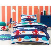 Wholesale jiggle giggle Sea Creature Kids Room Bedding Set Lunch Bag Small School Bag Cushion Blanket Floor Rug
