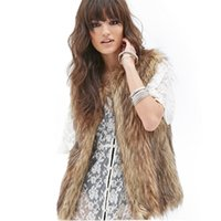 Wholesale Fashion Women O Neck Faux Fur Vest Brown Sleeveless Wide Waisted Winter Jacket amp Coat for Female Casual Outwear for