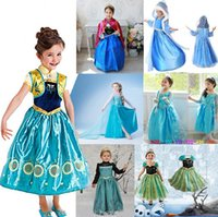 TuTu no brand Summer Princess Clothes Frozen Elsa Princess Dresses Elsa & Anna Dresses Costume 16 Styles Kids Halloween Party Dress