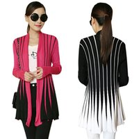 Wholesale New Knitted Cardigan Women Sweater Open Front Stripe Long Sleeve Slim Cardigan Outerwear Casual Knitwear Pull Femme Black Rose G1401