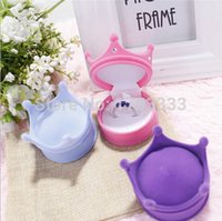 Wholesale 2015 New Crown Shape Velvet Ring Box Earring Jewelery Case Luxury Princess Gift Boxes Random Color GSJ